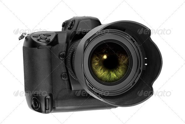 professional digital Lens Reflex with eye inside - Stock Photo - Images