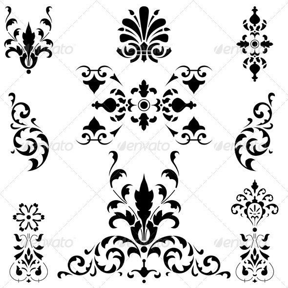Medieval ornaments on white - Flourishes / Swirls Decorative