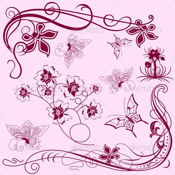 Vintage design elements with butterflies - Decorative Symbols Decorative