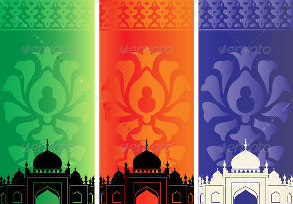 Islamic banners with mosque silhouette - Travel Conceptual