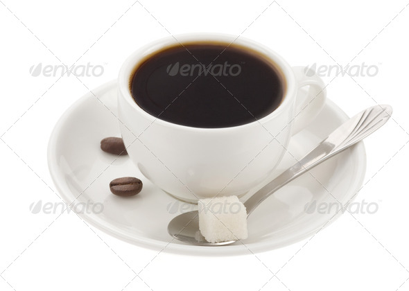 cup of coffee and beans isolated on white - Stock Photo - Images