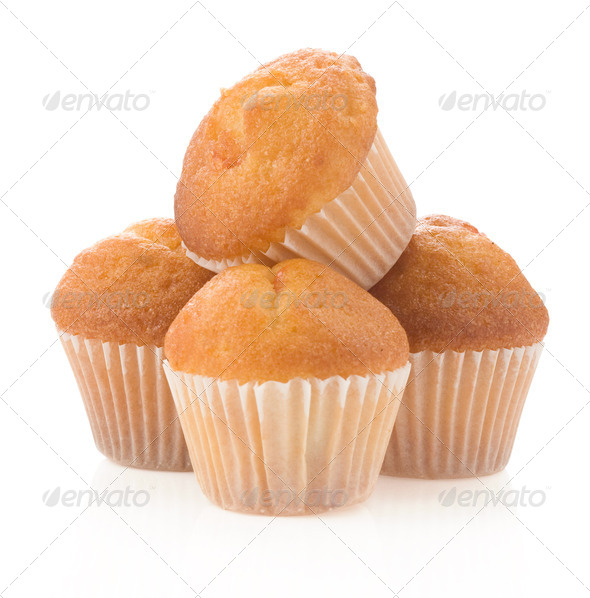 muffin cakes isolated on white - Stock Photo - Images