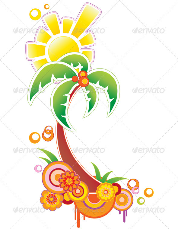 Background with Palm and Sun - Flowers & Plants Nature