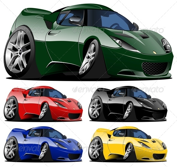 Vector Cartoon Sport Car - Man-made Objects Objects