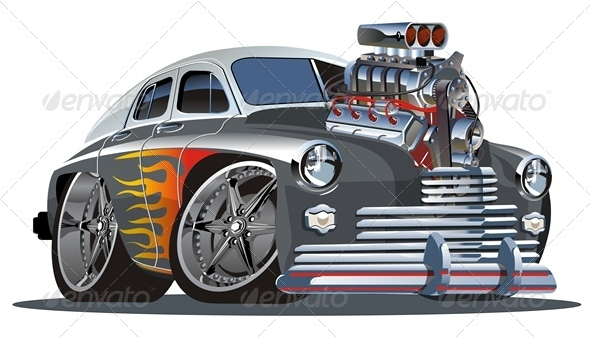 Retro Cartoon Hotrod - Man-made Objects Objects