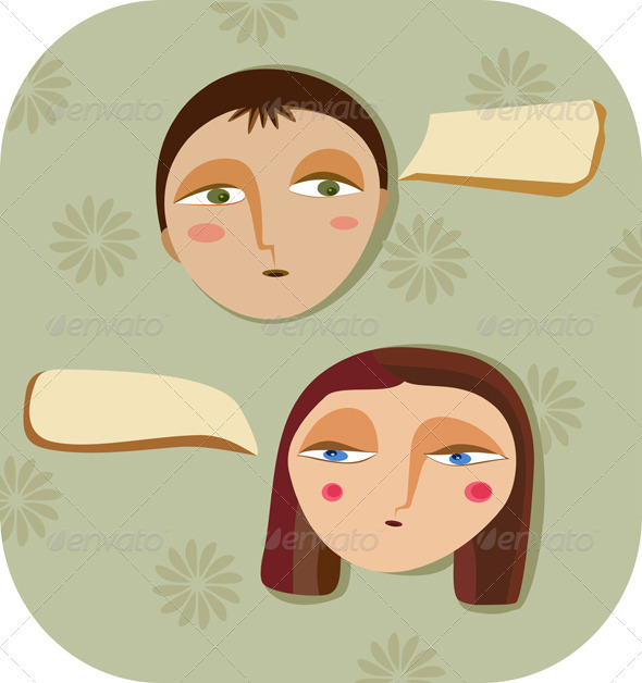 Face Girl Boy Dialog - Characters Vectors