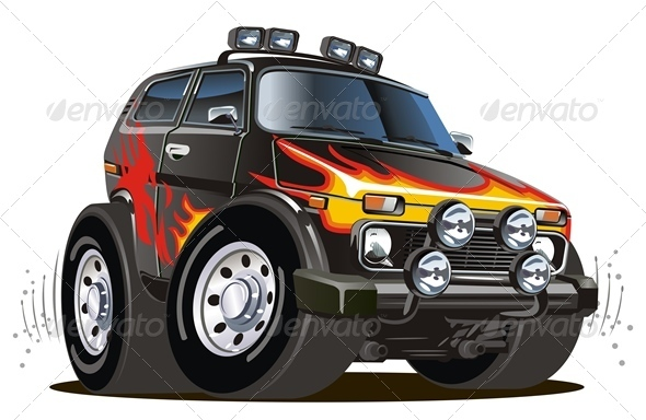 Vector Cartoon Jeep - Man-made Objects Objects