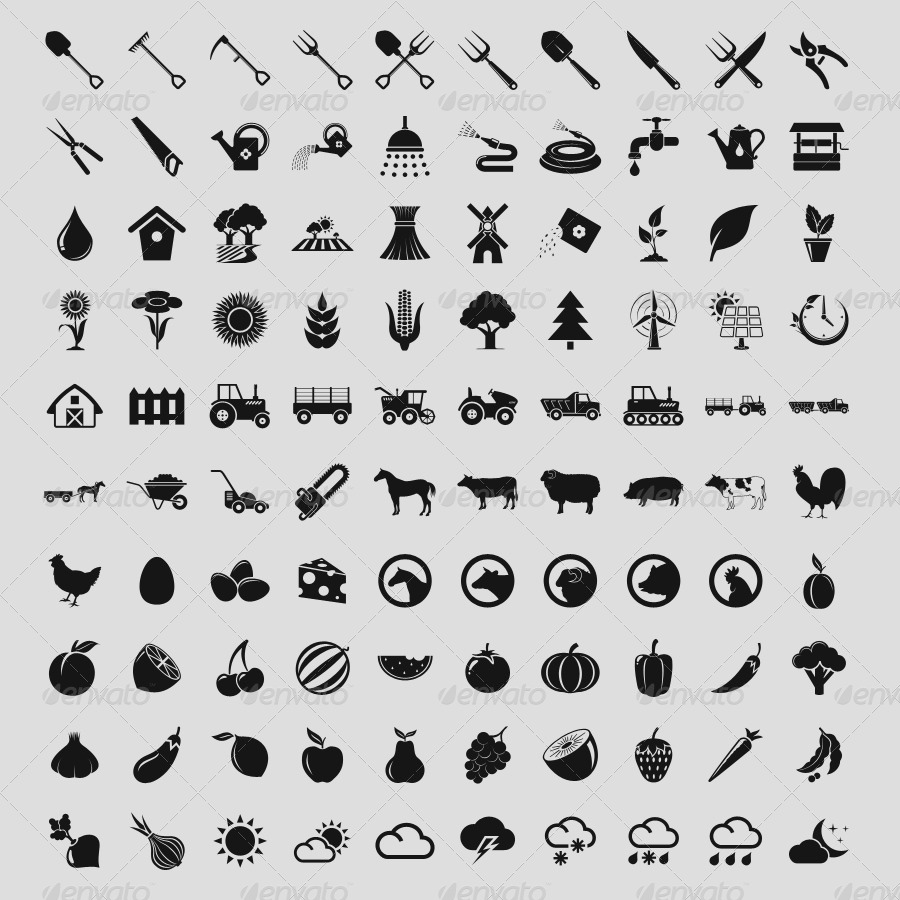 100 Simple Icons • AGRICULTURE •