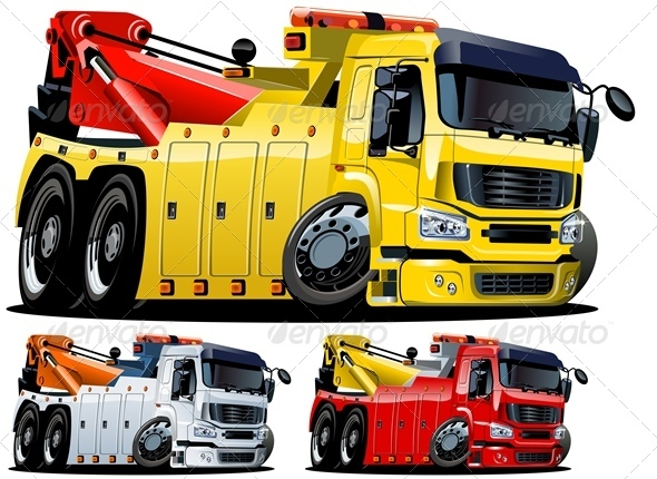 Vector Cartoon Tow Truck - Man-made Objects Objects