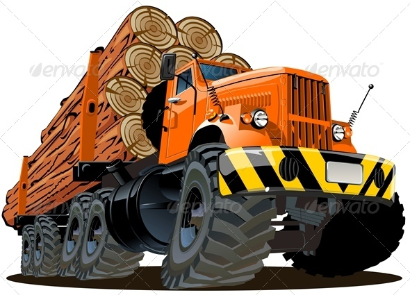 cartoon Logging truck - Man-made Objects Objects
