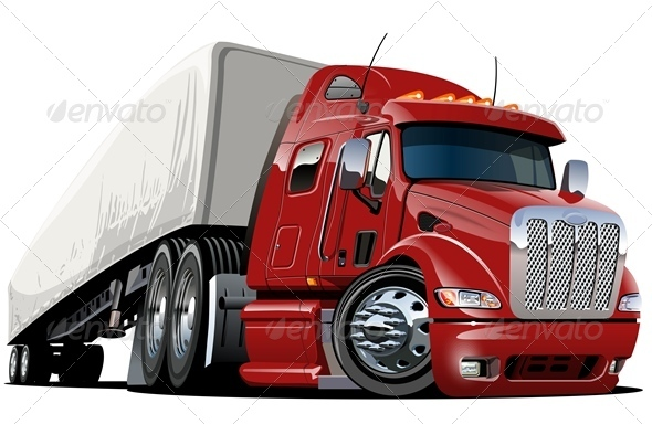 Cartoon Cargo Semi Truck - Man-made Objects Objects