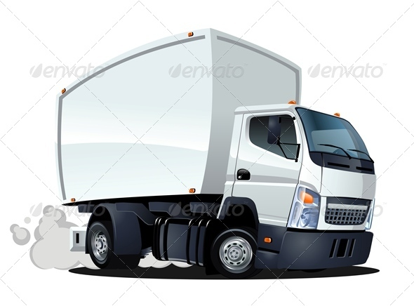 Delivery Cargo Cartoon Truck - Man-made Objects Objects