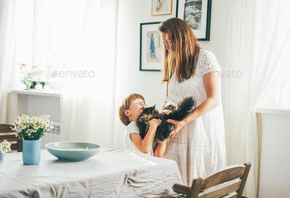 Cute toddler boy with cat on hands and his mother at bright living room - Stock Photo - Images