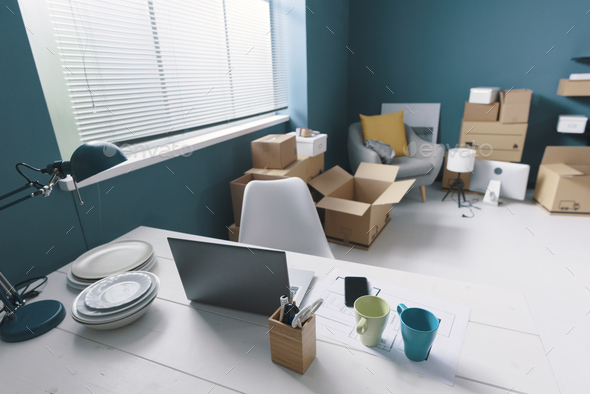Home interior with cardboard boxes - Stock Photo - Images