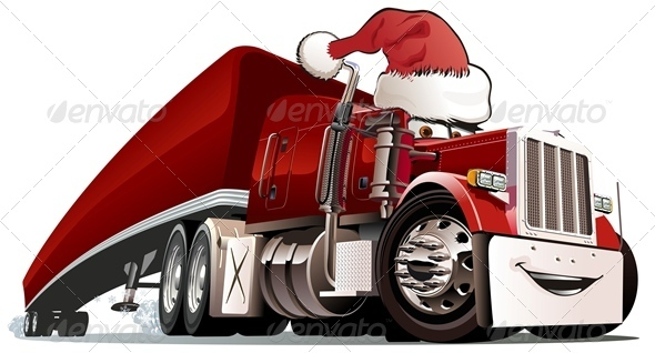 Cartoon Christmas Cargo Truck - Christmas Seasons/Holidays