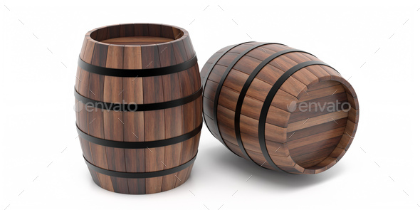 Wooden barrels isolated on white background 3d illustration - Stock Photo - Images