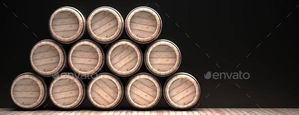 Wine barrels stack on wooden floor, black background. 3d illustration - Stock Photo - Images