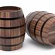 Wooden barrels isolated on white background 3d illustration - PhotoDune Item for Sale