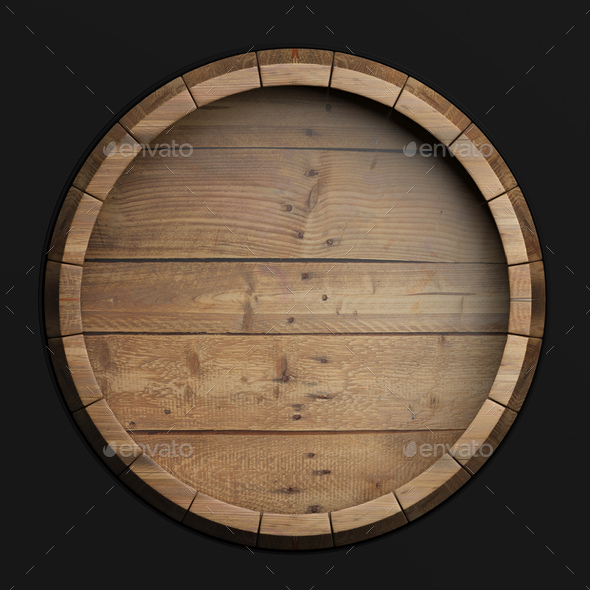 Wooden barrel top view isolated on black background 3d illustration - Stock Photo - Images