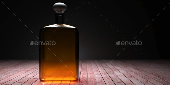 Bottle of whisky, dark cellar background. 3d illustration - Stock Photo - Images
