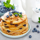 Blueberry pancakes with butter, maple syrup and fresh berries. American breakfast - PhotoDune Item for Sale