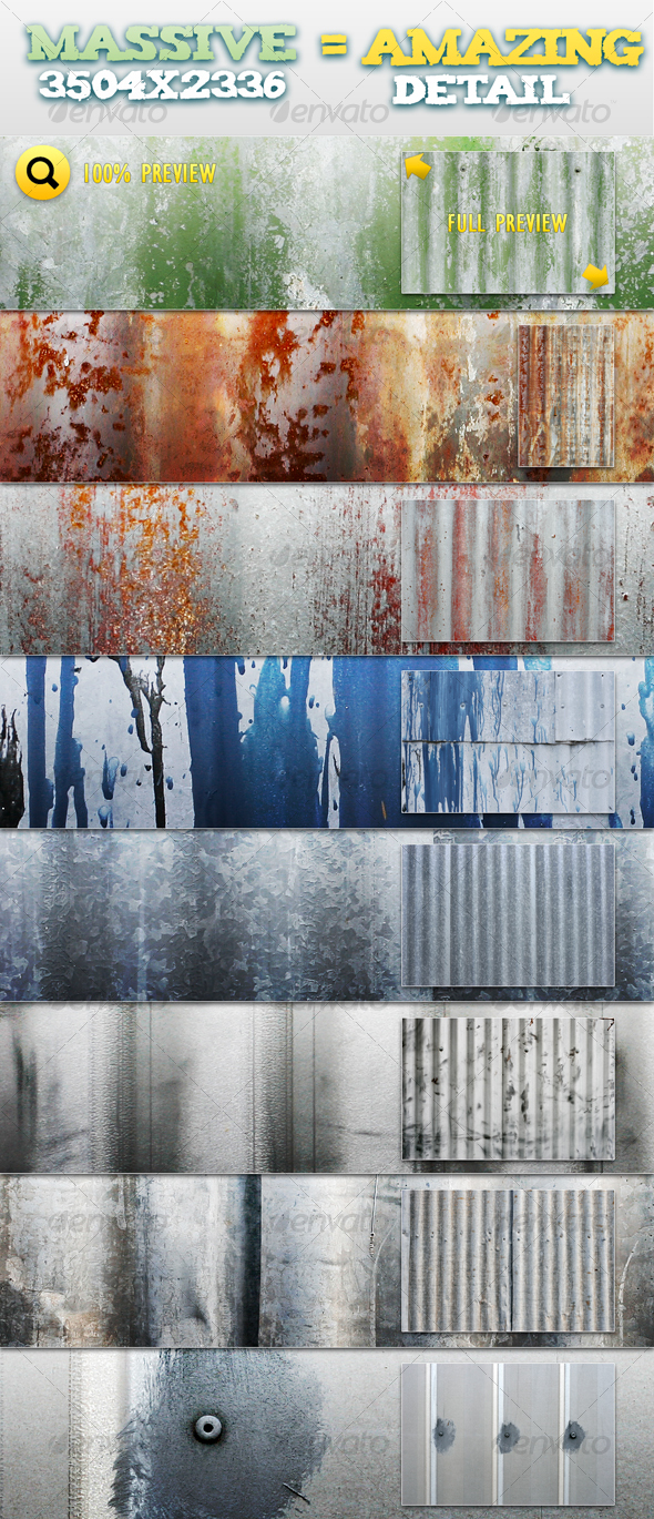Corrugated Metal Pack 1 - Metal Textures