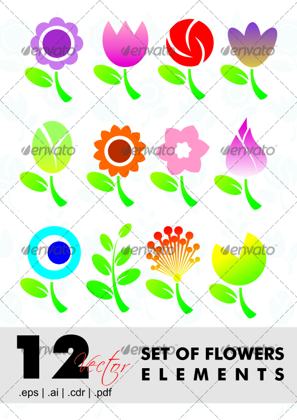 12 Set Of Flowers Elements - Characters Vectors