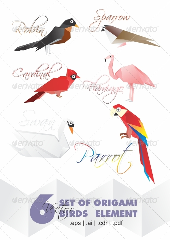 6 Set Origami Of Birds Elements - Animals Characters
