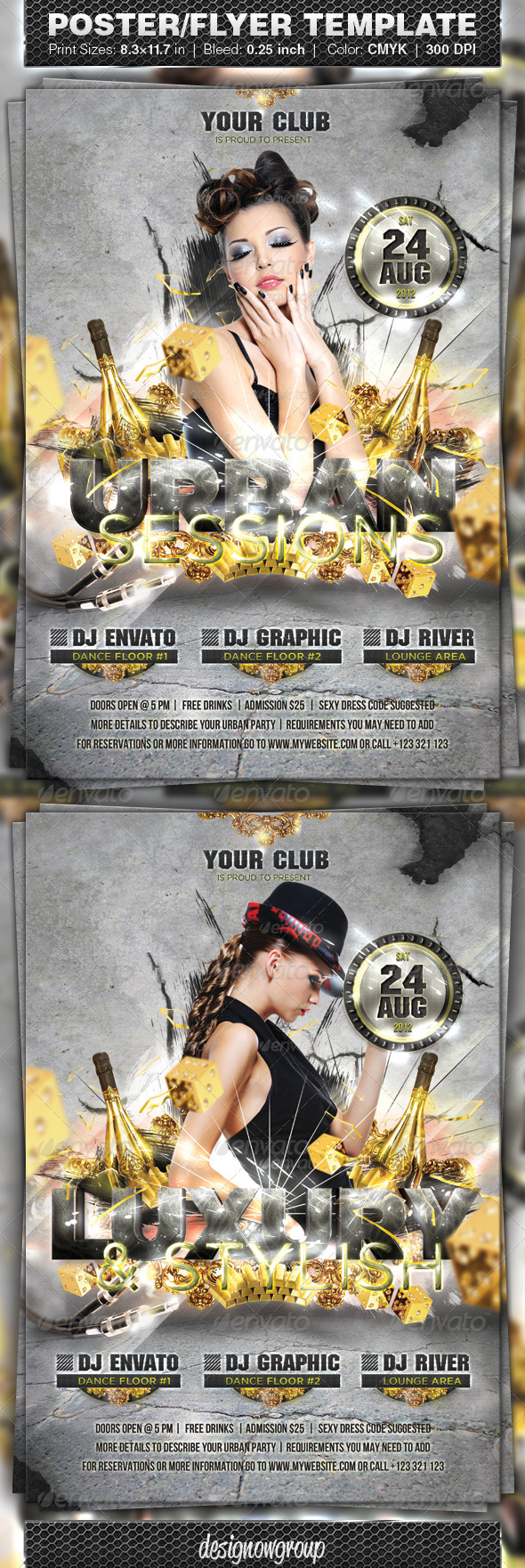 Urban Sessions Flyer and Poster Template - Clubs & Parties Events