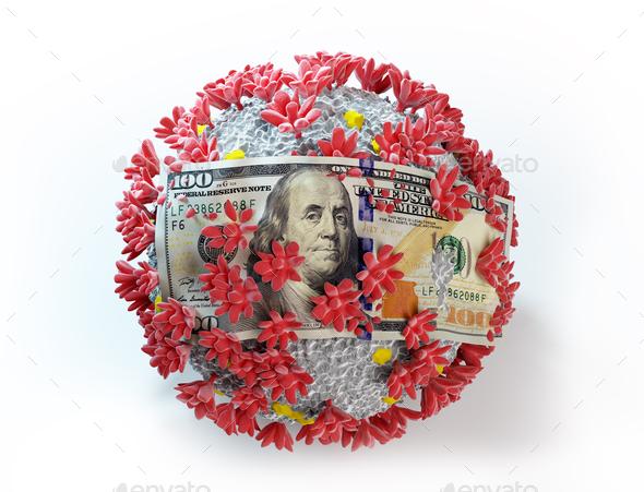 One hundred dollar bill on coronavirus Covid19. Economic crisis - Stock Photo - Images