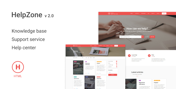 HelpZone – Knowledge Base / Support HTML Template