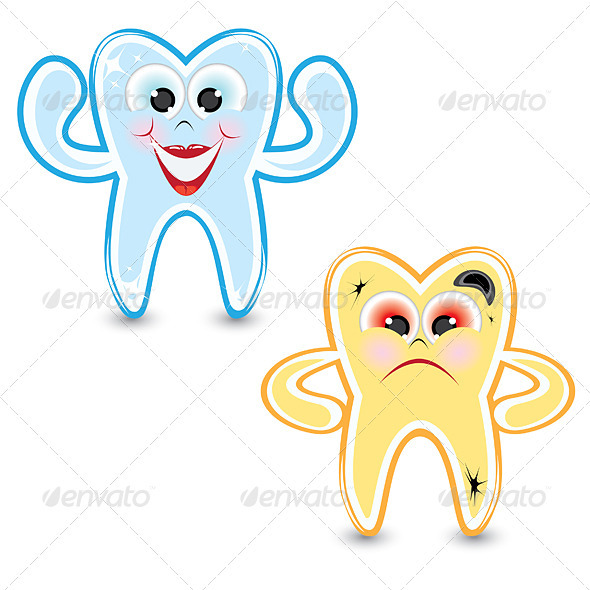 Cartoon healthy and diseased tooth - Characters Vectors