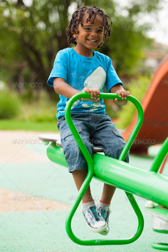 Portrait of a cute african american little boy - Stock Photo - Images