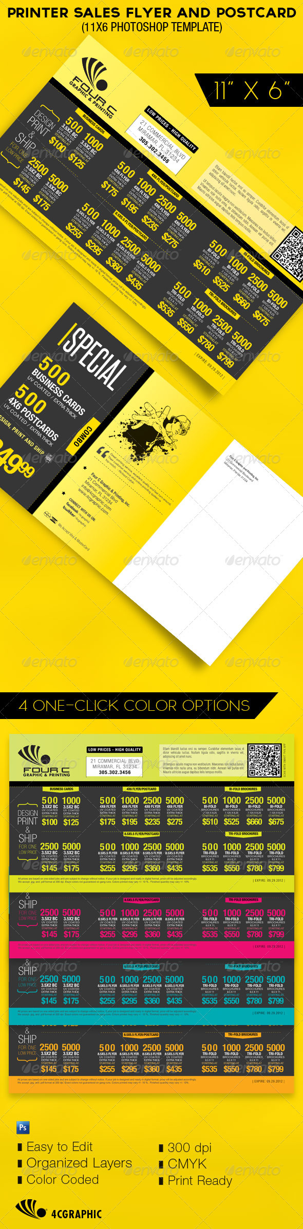 Printer Flyer Postcard Template - Commerce Flyers