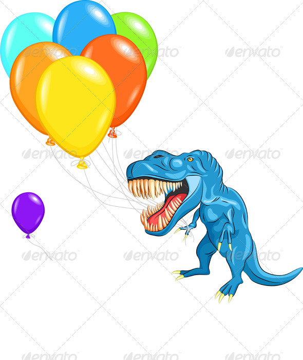 Vector Happy Blue Dinosaur Tyrannosaurs - Monsters Characters