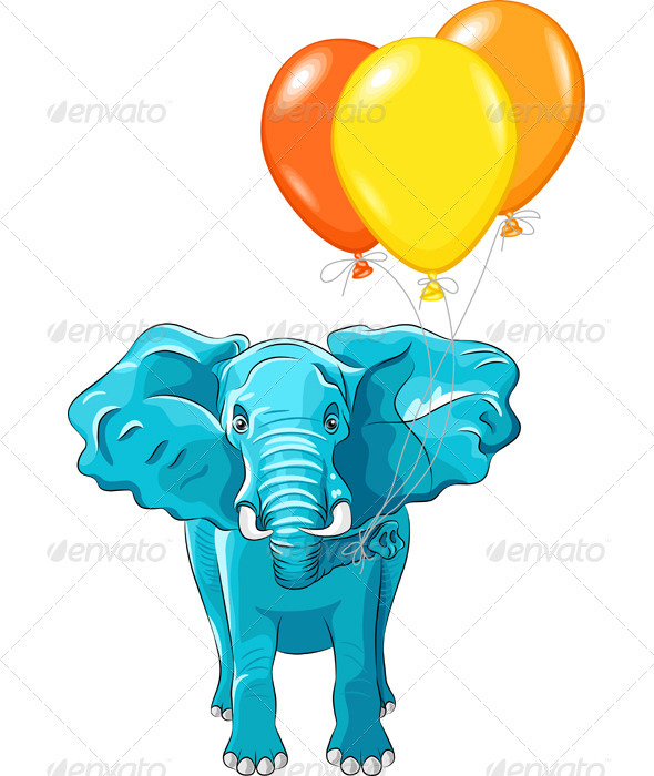 Vector blue African Elephant with Baloons - Seasons/Holidays Conceptual