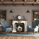 Classic style living room with fireplace and blue armchair - PhotoDune Item for Sale