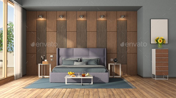 Modern Bedroom With Double Bed Against Wooden Panel Stock Photo By Archideaphoto