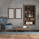 Classic style living room withh old armchair and bookcase - PhotoDune Item for Sale