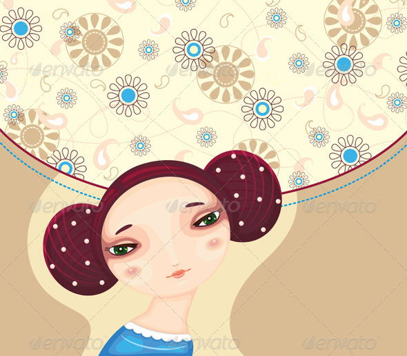 Girl Face Flower Cover - People Characters