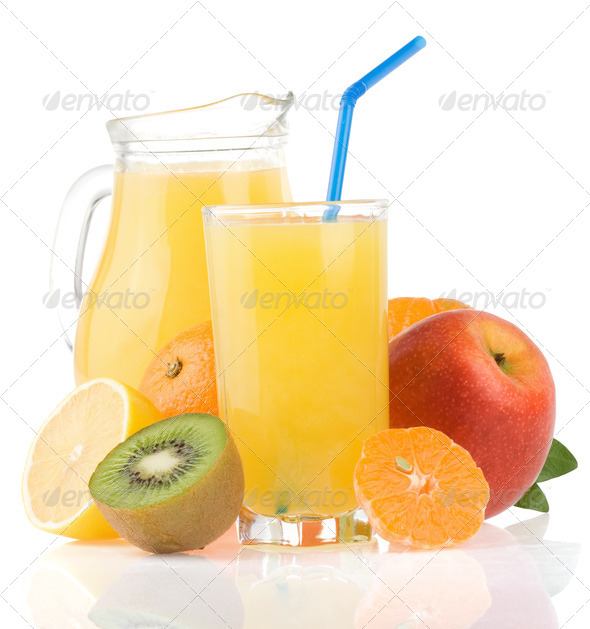 fresh fruits juice in glass and slices on white - Stock Photo - Images