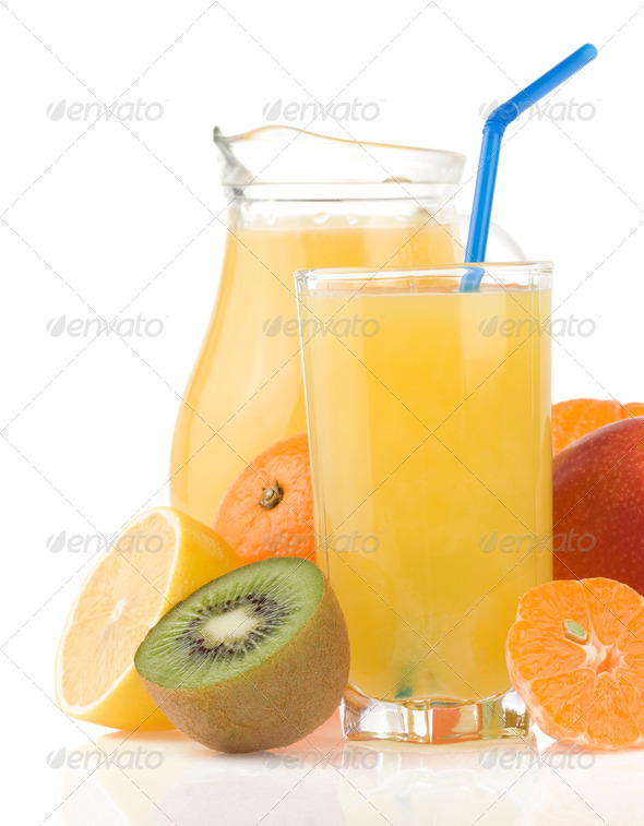 fresh fruits juice in glass and slices isolated - Stock Photo - Images