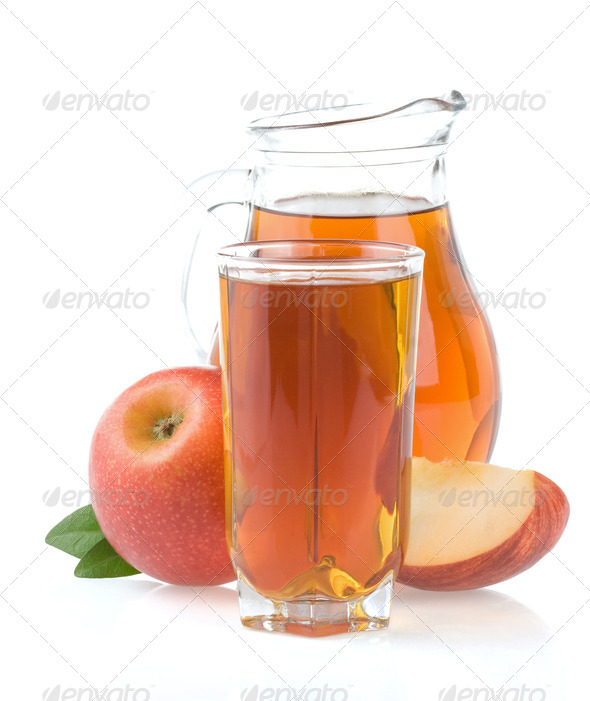 apple juice in glass and slices isolated on white - Stock Photo - Images