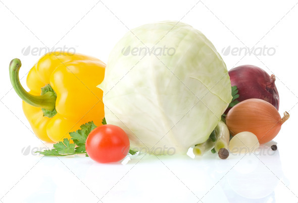 healthy vegetable food isolated on white - Stock Photo - Images