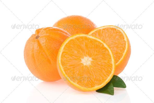 orange fruit and slices isolated on white - Stock Photo - Images
