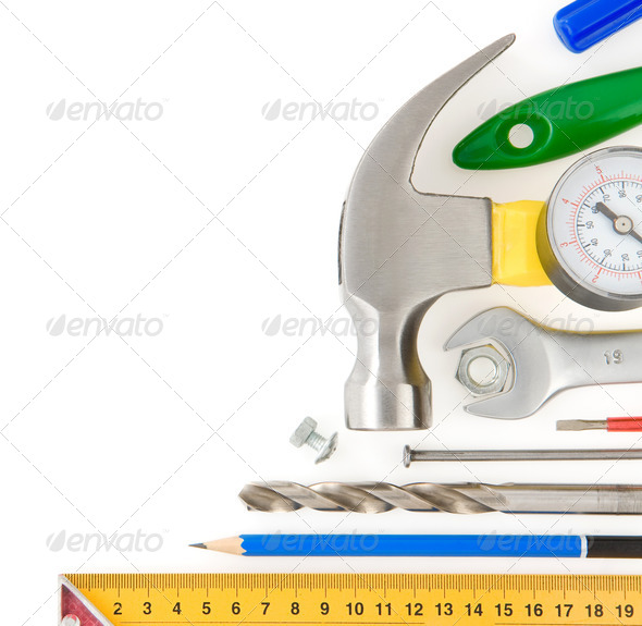 set of construction tools isolated on white - Stock Photo - Images
