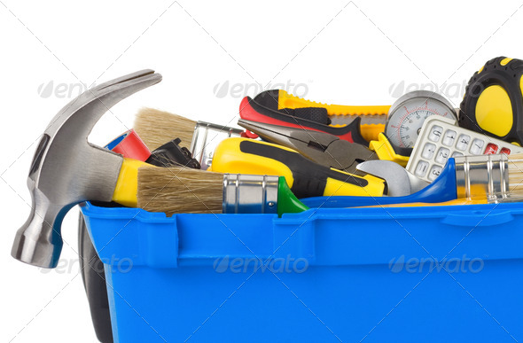 tools in construction toolbox isolated on white - Stock Photo - Images