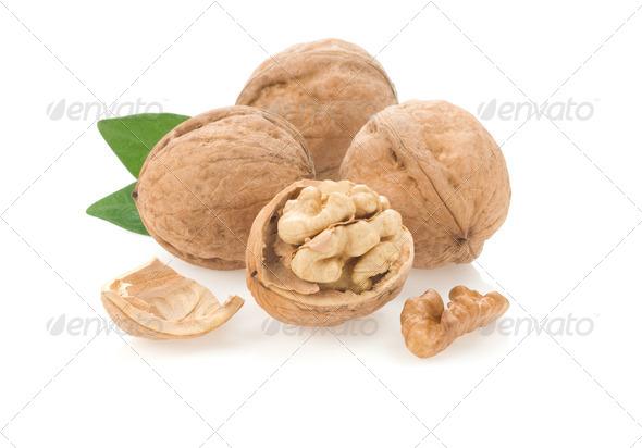 walnuts isolated on white - Stock Photo - Images