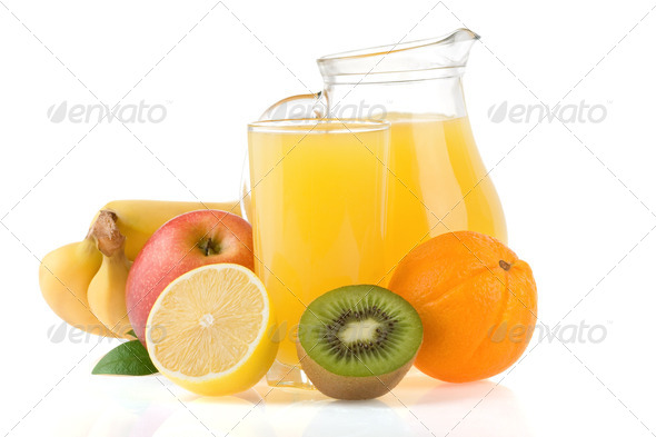 fresh fruits juice in glass and slices isolated on white - Stock Photo - Images