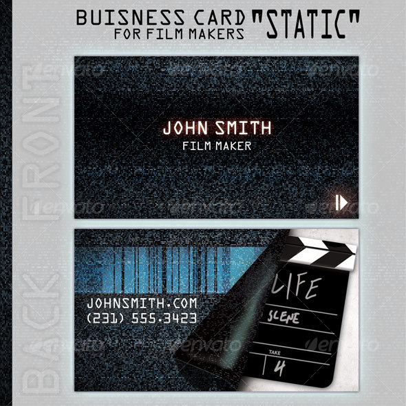 "Business Card ""Static"" for people in film business - Grunge Business Cards"